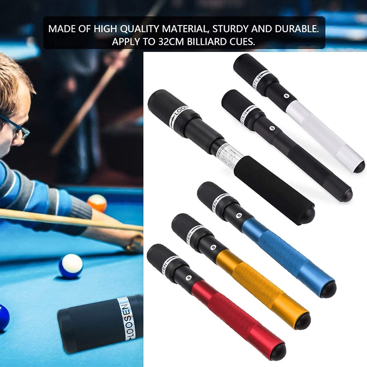 Pool Cue Extension Push on Telescopic Snooker Billiard Long Stick ...