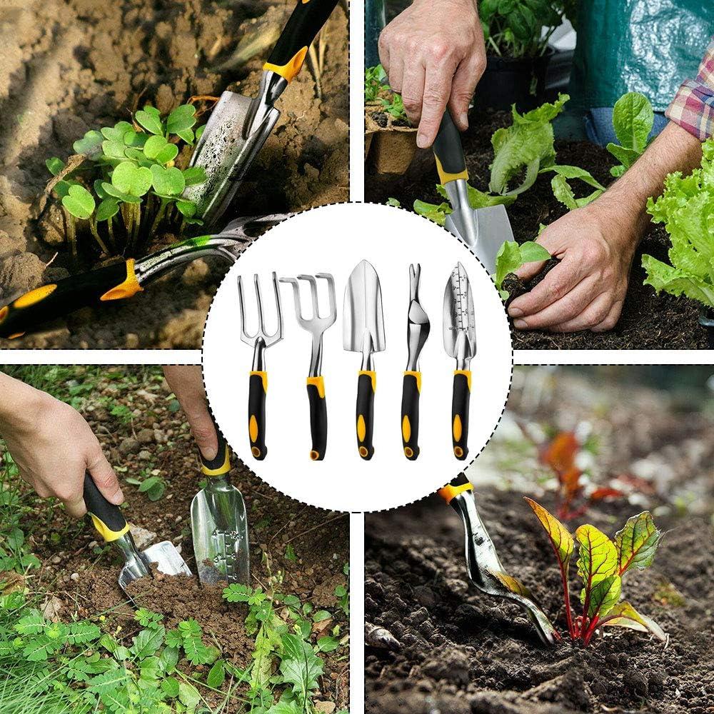 Pelles Truelle WingFly 5 Pcs Ensemble Outils Jardinage Aluminium Main Jardinage kit Outils de Jardin Outils de Jardinage avec S/écateur Transplanteur Gants R/âteau /à Main