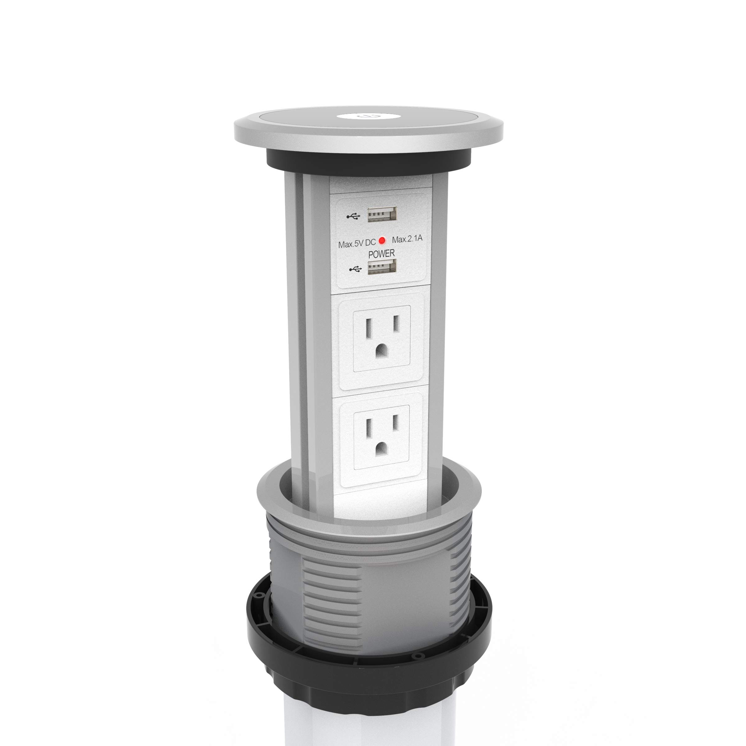 V3 - US Motorised Pop Up Power Point Socket Outlet w/ 2 GPO + 2 USB Sockets (white face)