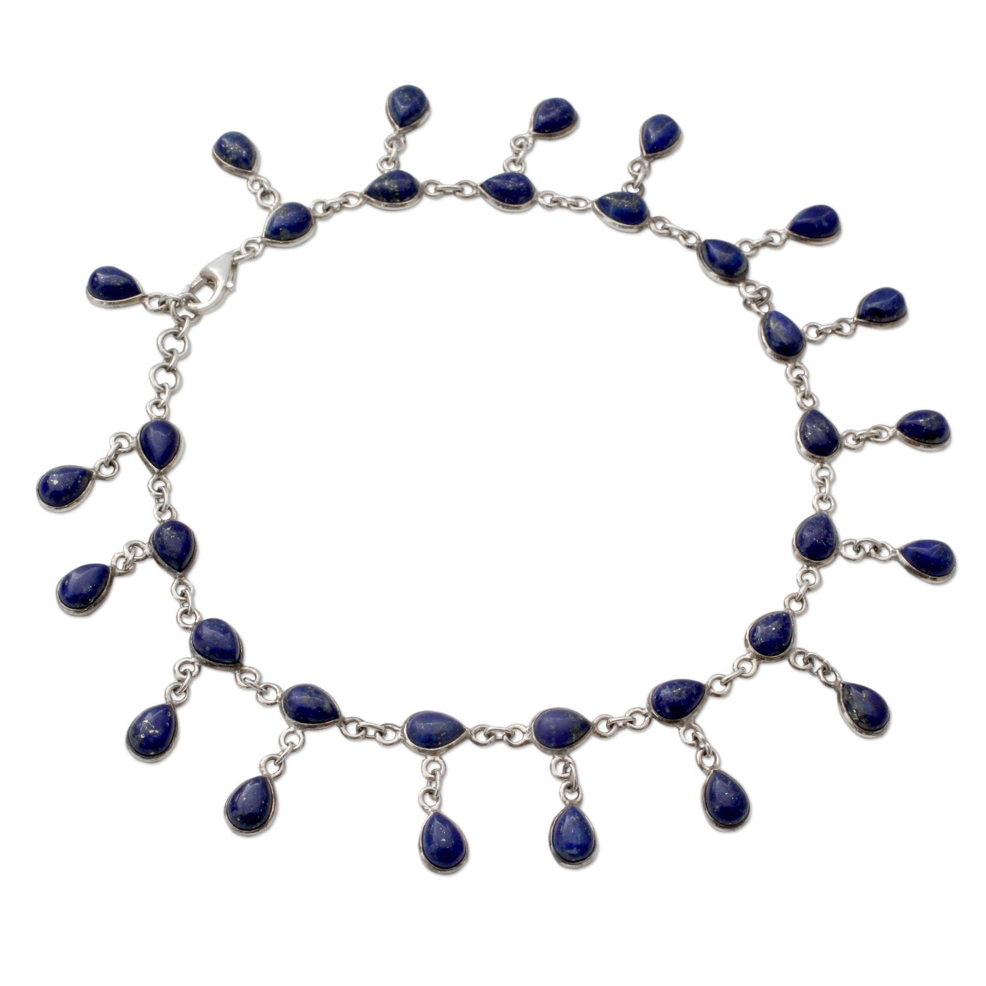NOVICA Lapis Lazuli .925 Sterling Silver Link Anklet, 10.25'' 'Royal Dewdrops'