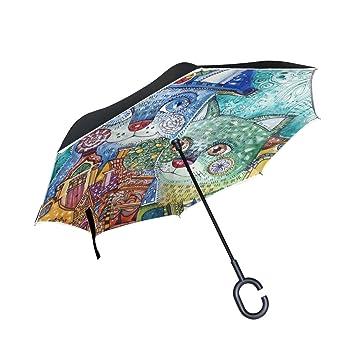 OKONE - Paraguas Reversible de Apertura automática con diseño de Dos Gatos para el Coche y