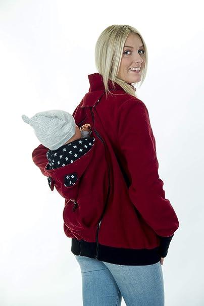 Divita 3in1 Tragejacke Umstandsjacke Fleece vorne + hinten weinrot