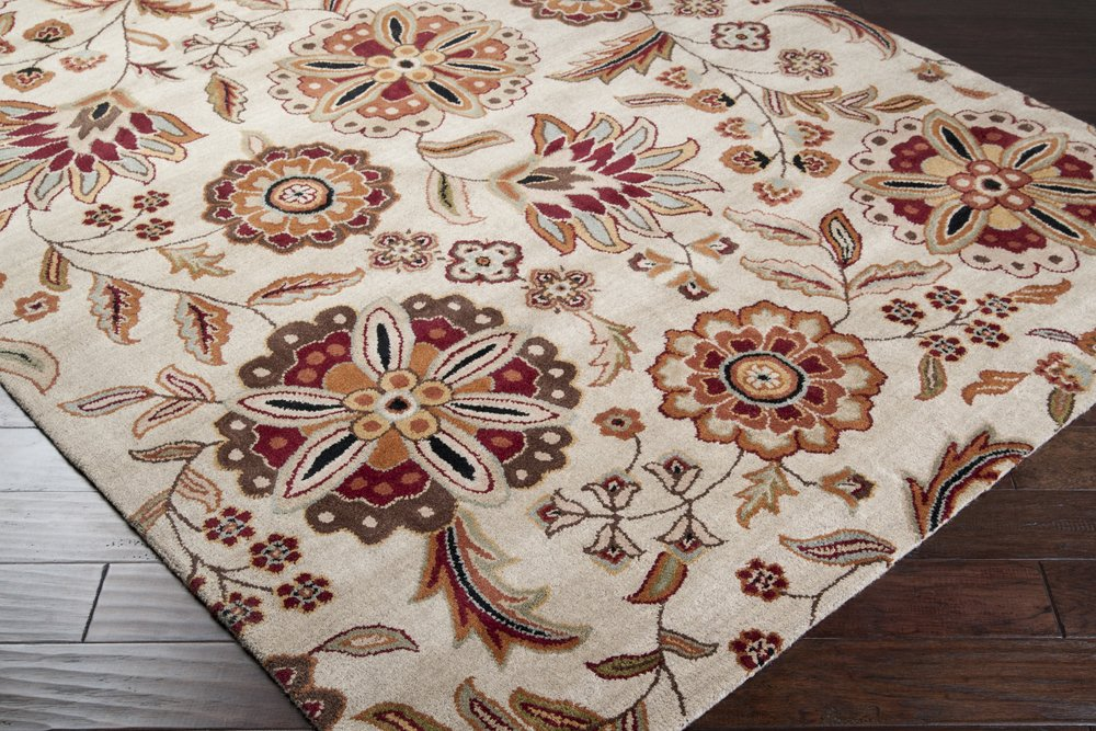 Surya Athena ATH-5035 Transitional Hand Tufted 100% Wool Taupe 2'6'' x 8' Floral Runner