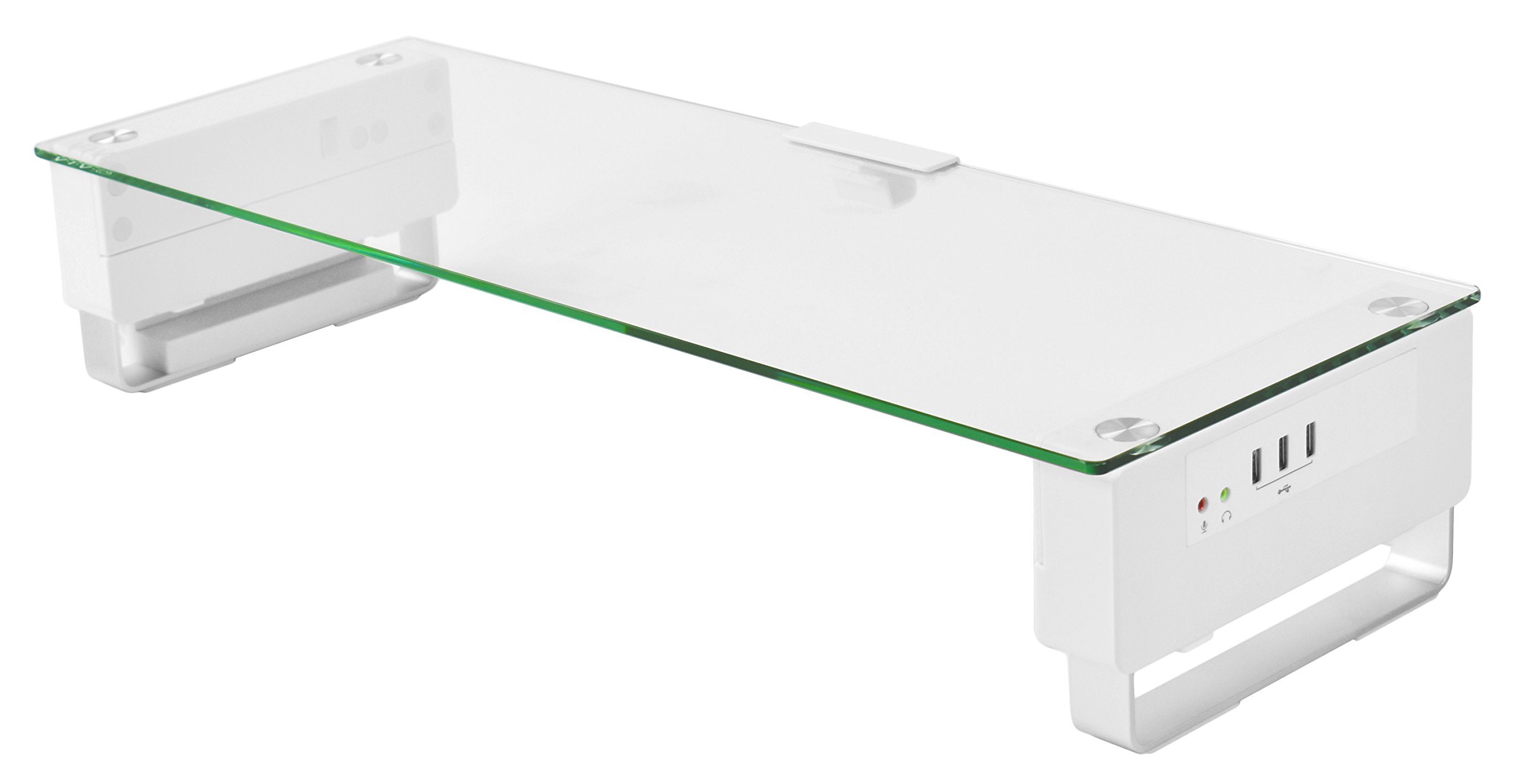 VIVO Tempered Glass Surface Smart Computer Monitor & Laptop Riser Stand with USB Hub Audio Ports (STAND-V000U)
