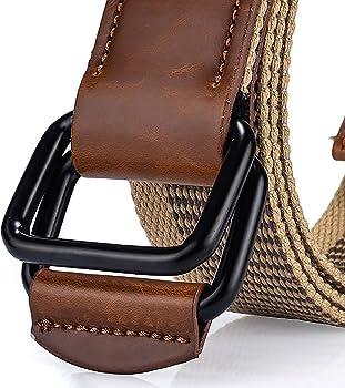Leisial™ Cinturón de Lona Hombre Hebilla Doble Ocasional Cinta ...