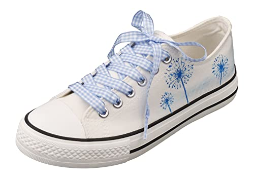 4b49d814fac1 Image Unavailable. Image not available for. Color  E-LOV Dandelion Hand- Painted White Canvas Shoes Low Cut Sneakers Personalized ...