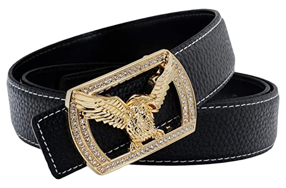 QHA Mens Designer Belt Falcon Style Eagle Diamond Pin Buckle Gold Black  30 quot -34 quot 0cbf5b757ec
