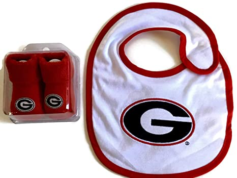 371950783 Image Unavailable. Image not available for. Color: Georgia Bulldogs Baby  Gift Set Red UGA Booties - UGA Bib ...