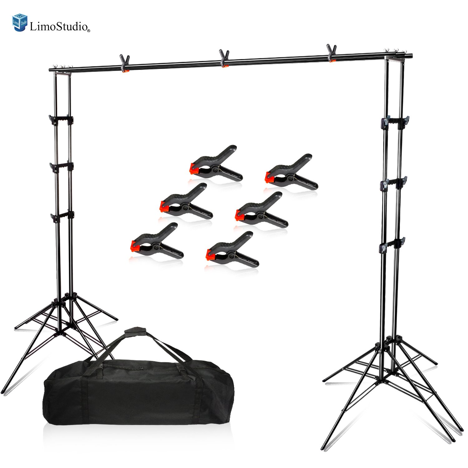 LimoStudio Photography Backdrop Sexapod Support System Stand with 6-Legged Support Stands, Max 10 ft. Cross Bar Sets, Spring Clamps, and Carry Bag for Photo Video Studio, AGG2669