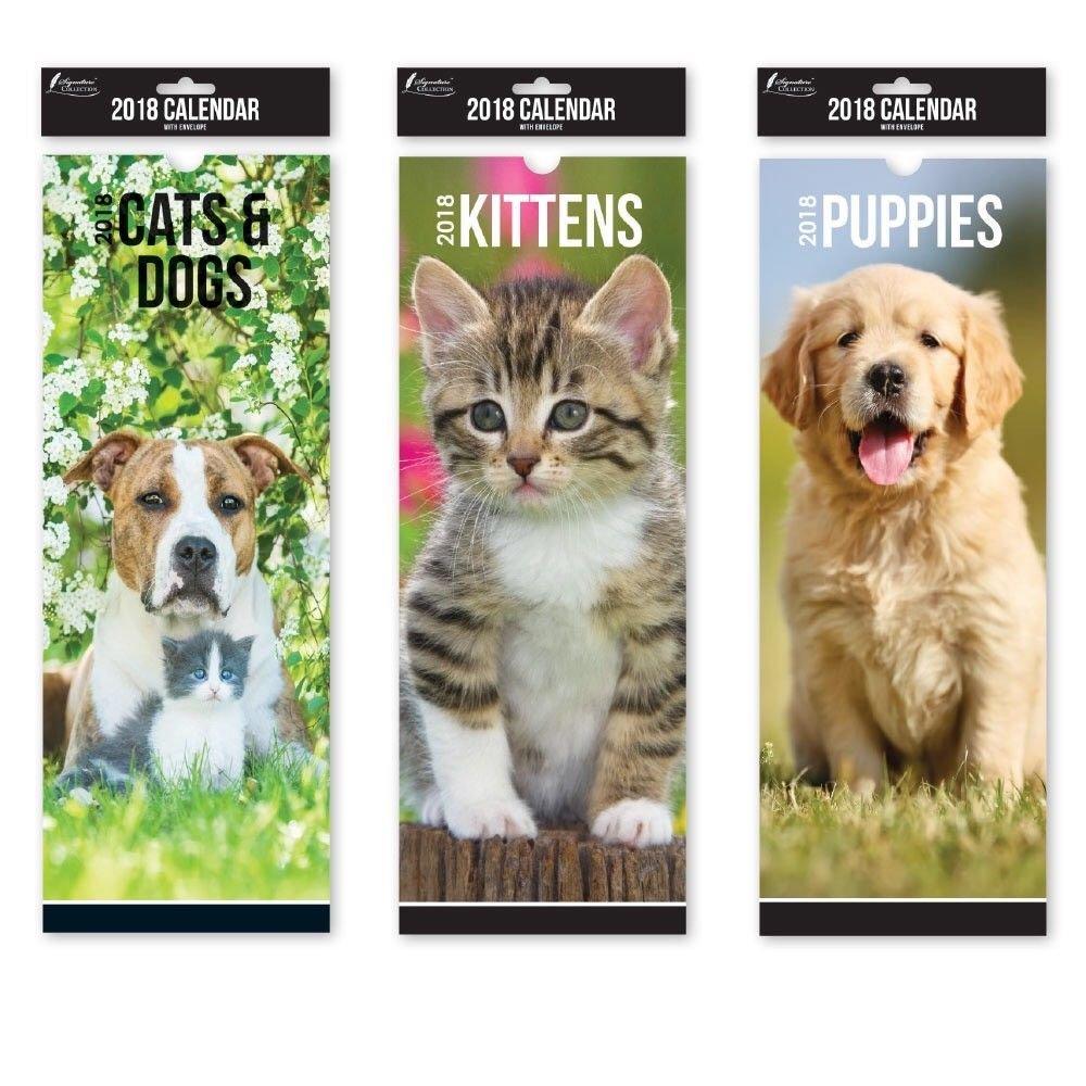 2018 Slimline Mascotas Perros Gatos Gatitos Cachorros Calendario de 12 Meses: Amazon.es: Hogar