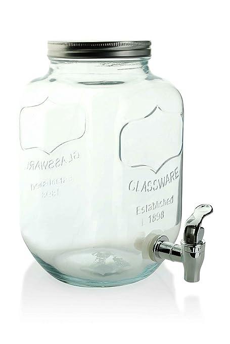 Jugo dispensador 3 L de agua de cristal con grifo (dispensador de bebidas dispensador rústico