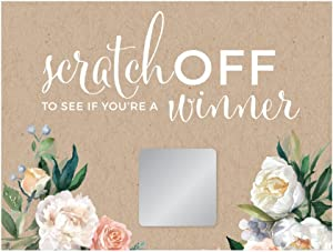 Andaz Press Peach Coral Kraft Brown Rustic Floral Garden Party Wedding Collection, Bridal Shower Game Scratch Cards, 30-Pack