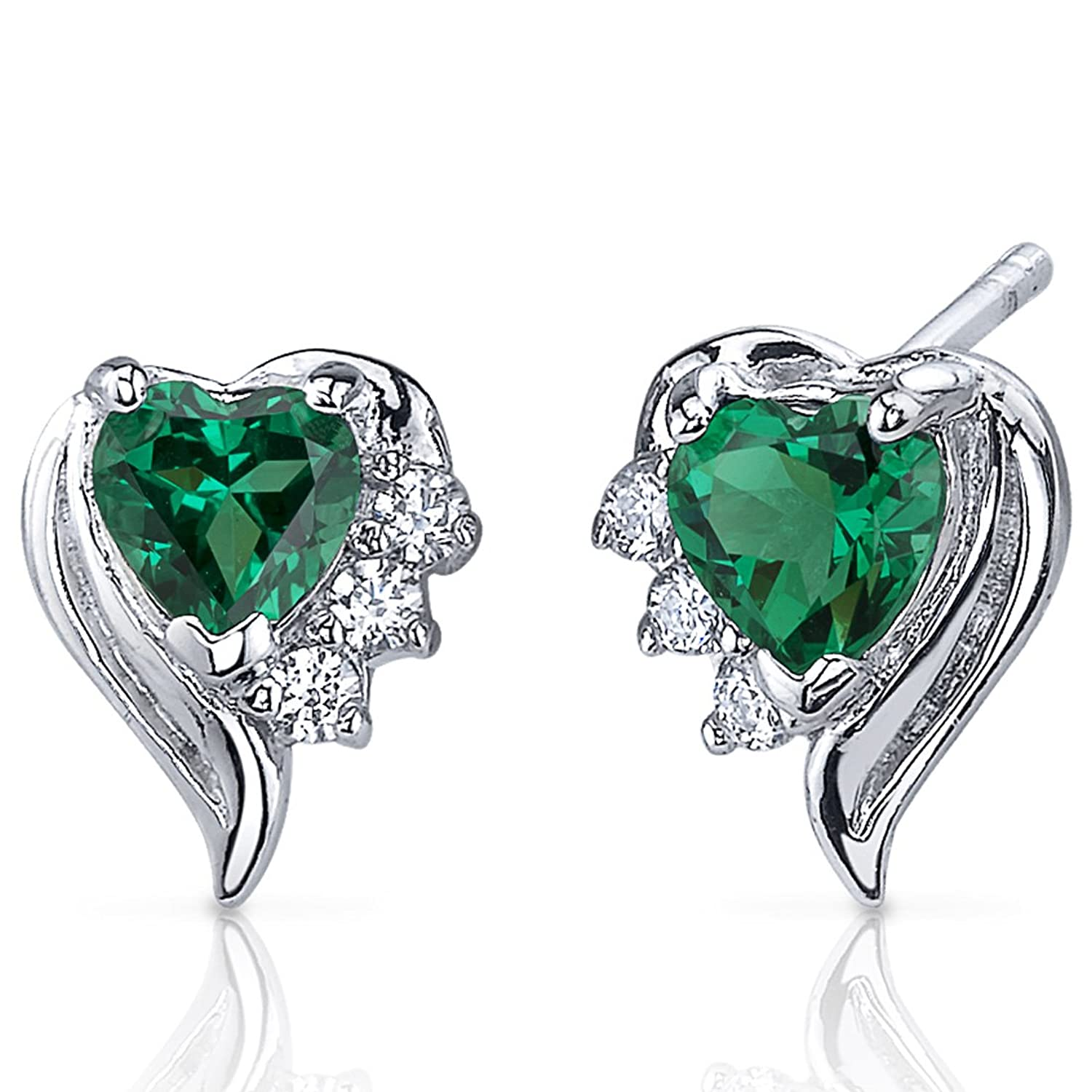 1.00 Carats Simulated Emerald Heart Shape Earrings Sterling Silver Rhodium Nickel Finish
