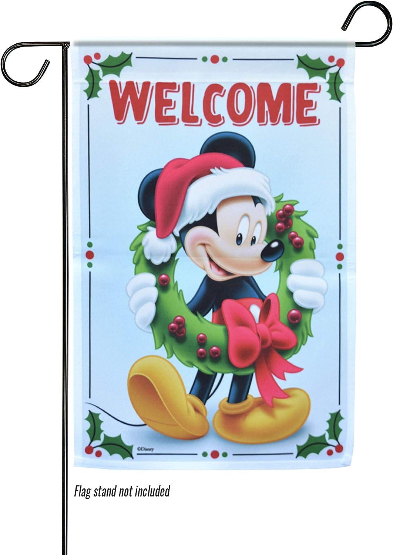 "The Galway Company Christmas, Disney, Garden Flag, Mickey Welcome Wreath - Welcome - Garden Flag – 12.5"" x 18"","