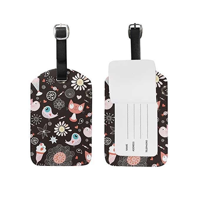 Octopus Flowers Leather Luggage Tags Personalized Suitcase Tag With Privacy Flap