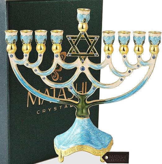Matashi Hand Painted Enamel Menorah Candelabra Embellished with Gold Accents and Crystals Hanukkah