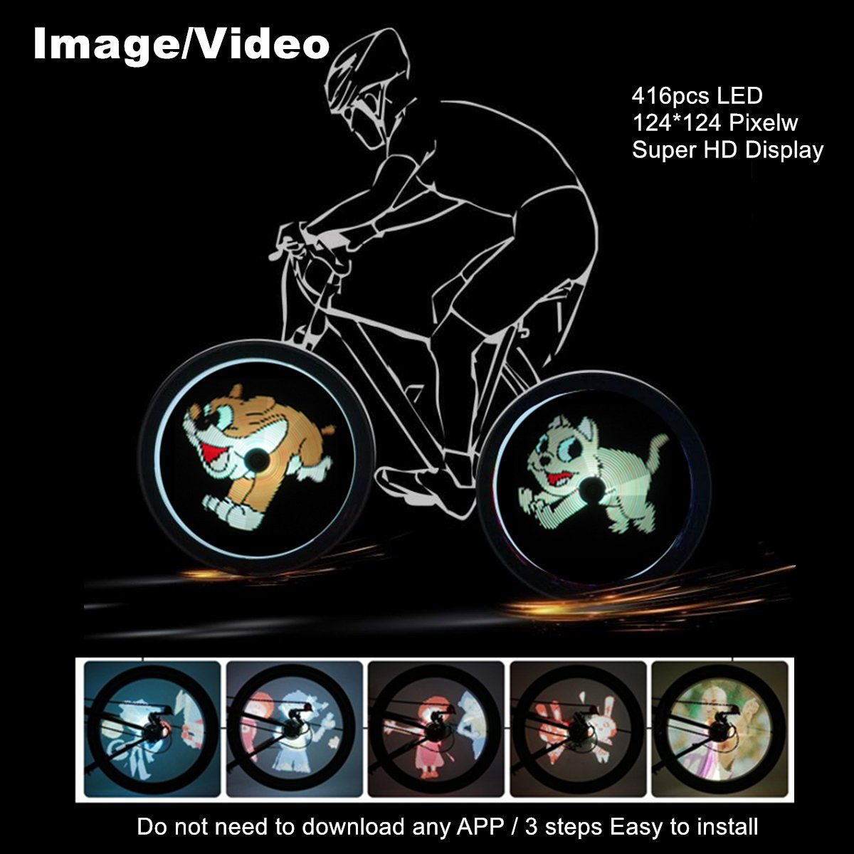 Taiyu Bike Wheel LED Light / Image and Video - 416pcs LEDs 124124 High Resolution Display - Built-in Gyroscope, Easy to Install (BK8 Pro :416 LED)