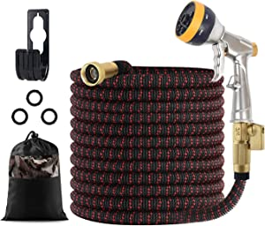 FINADO Upgraded Expandable Garden Hose 50 ft with Extra Strength Fabric Triple Layer Latex Core Durable Flexible Water Hose ,3/4