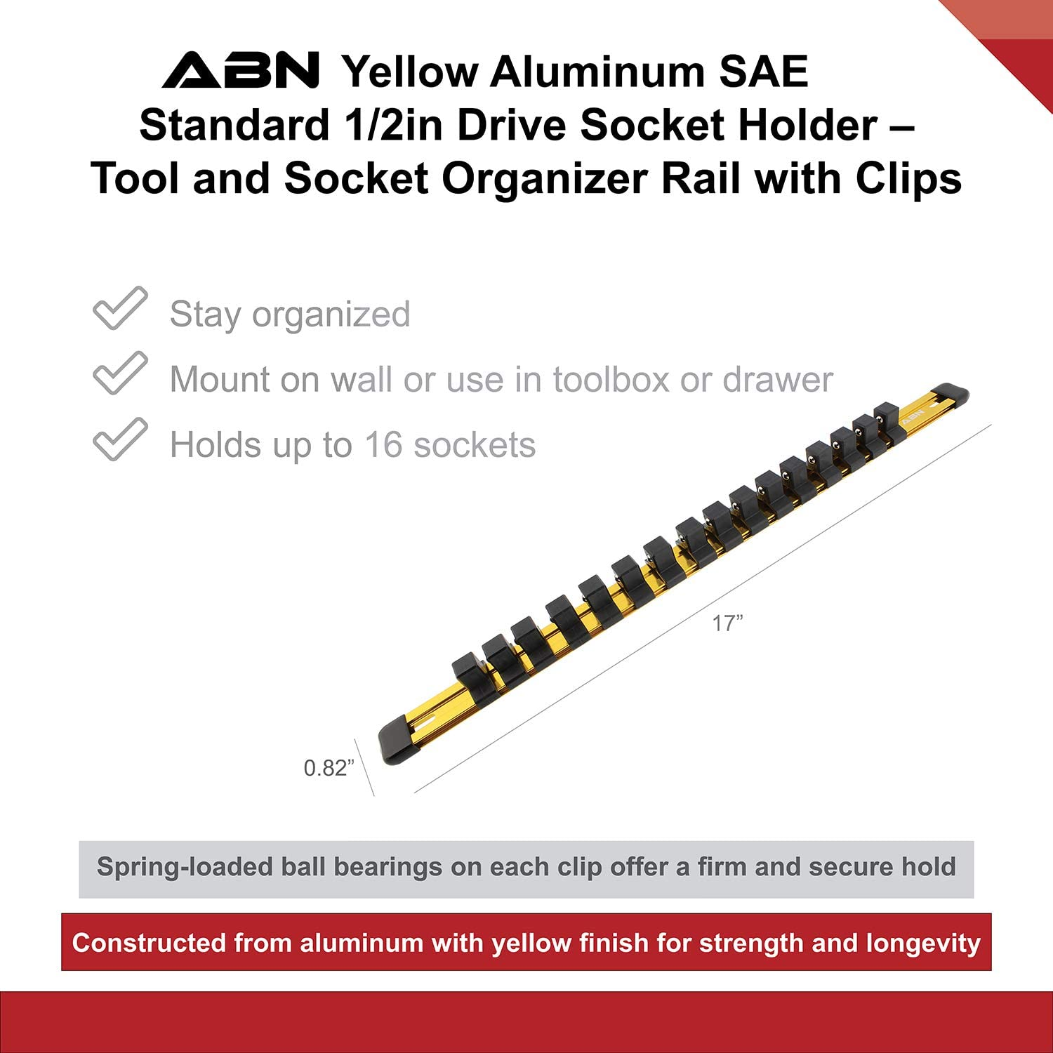 ABN Green Aluminum SAE Standard 1//2in Drive Socket Holder Tool and Socket Organizer Rail with Clips