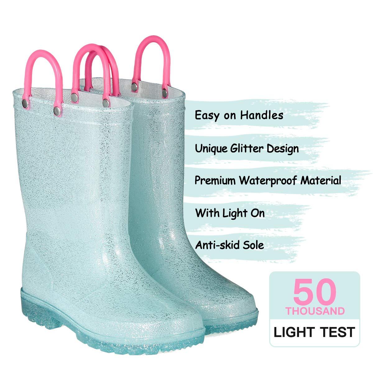 KomForme RPGL054-1M K Light Up Kids Rain Boots Glitter Girl Boots Blue by KomForme (Image #3)