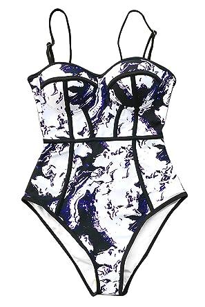 7c4bbcb36ac CUPSHE Women's Dream Spark Tie-dye One-Piece Swimsuit Beach Swimwear  Bathing Suit Small