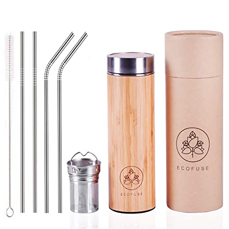 Bamboo Oz Travel Leaf Steel BottleReusable Tea Mugamp; For Tumbler 18 Wstainless InfuserVacuum Insulated Loose TeaCoffee Ecofuse Fruit Water 6gYbyf7