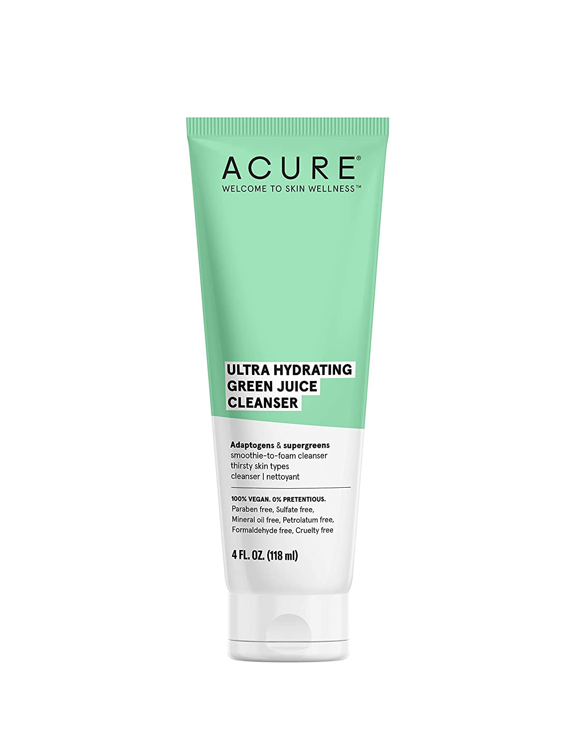 ACURE Ultra Hydrating Green Juice Cleanser | 100% Vegan | Intense Moisture for Super Thirsty Skin | Supergreens & Adaptogens - Purifies, Deep Cleanses & Refreshes | 4Fl Oz