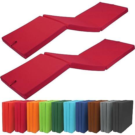 BeautissuSet de 2 Cómodos colchónes Plegables - ahorran Espacio - con Funda de Microfibra - 190x60x7
