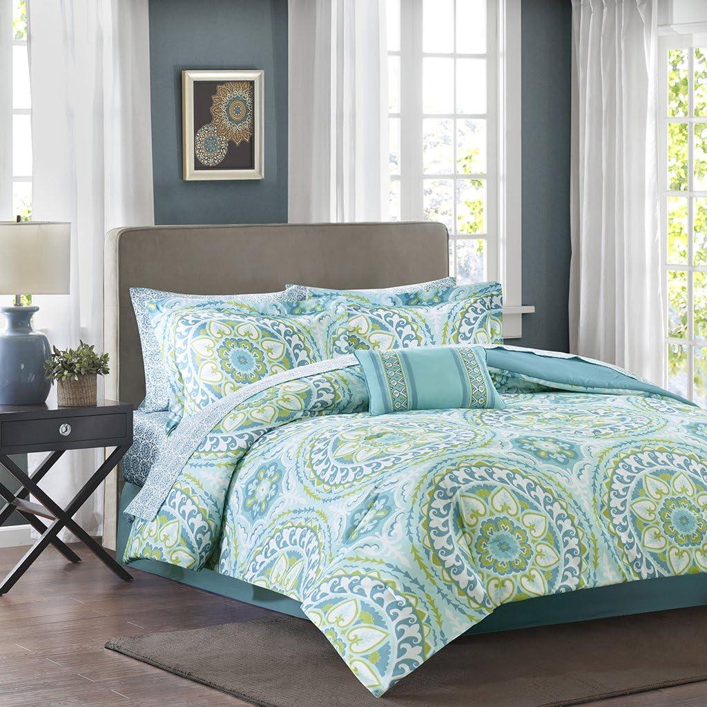 Madison Park MPE10-116 Essentials Serenity Complete Bed and Sheet Set Queen Aqua