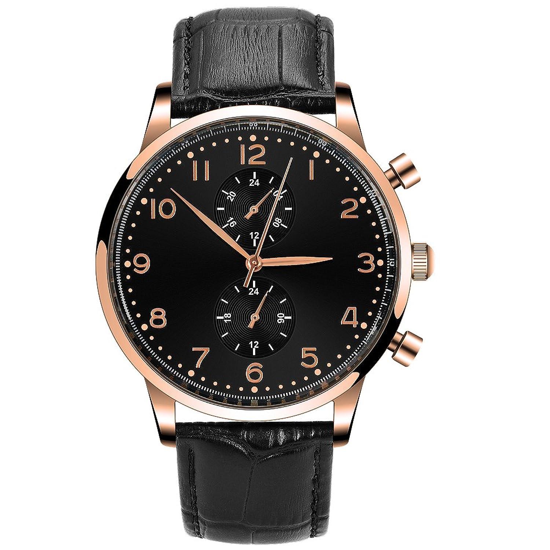 desheng (Politiker) Herren Chronograph Quarz Handgelenk Uhren mit kratzfest Mineral Kristall Glas und schwarz Zifferblatt