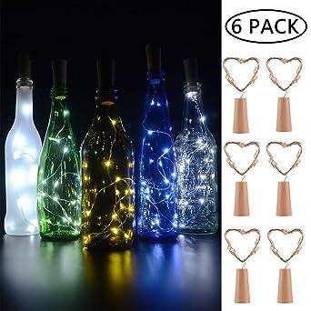 BizoeRade Flaschenlicht,6 Stück 30inch 15 LED Weiß Kupferdraht ...