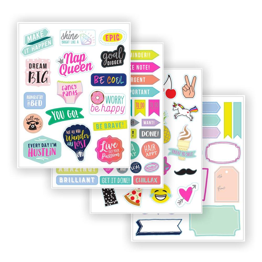 5x7 Inches Eccolo Fun Sticker Book Pad Mint Green I Love Stickers Cute Art and Fun Sayings