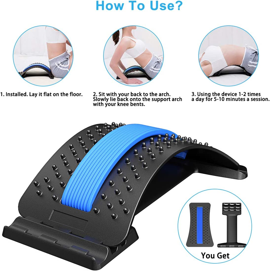 Bcway Back Stretcher, Multi-Level Lumbar Back Device for Upper and Lower Pain Relief,Herniated Disc,Sciatica, Scoliosis,Spine Deck on Bed Chair Car: Health & Personal Care