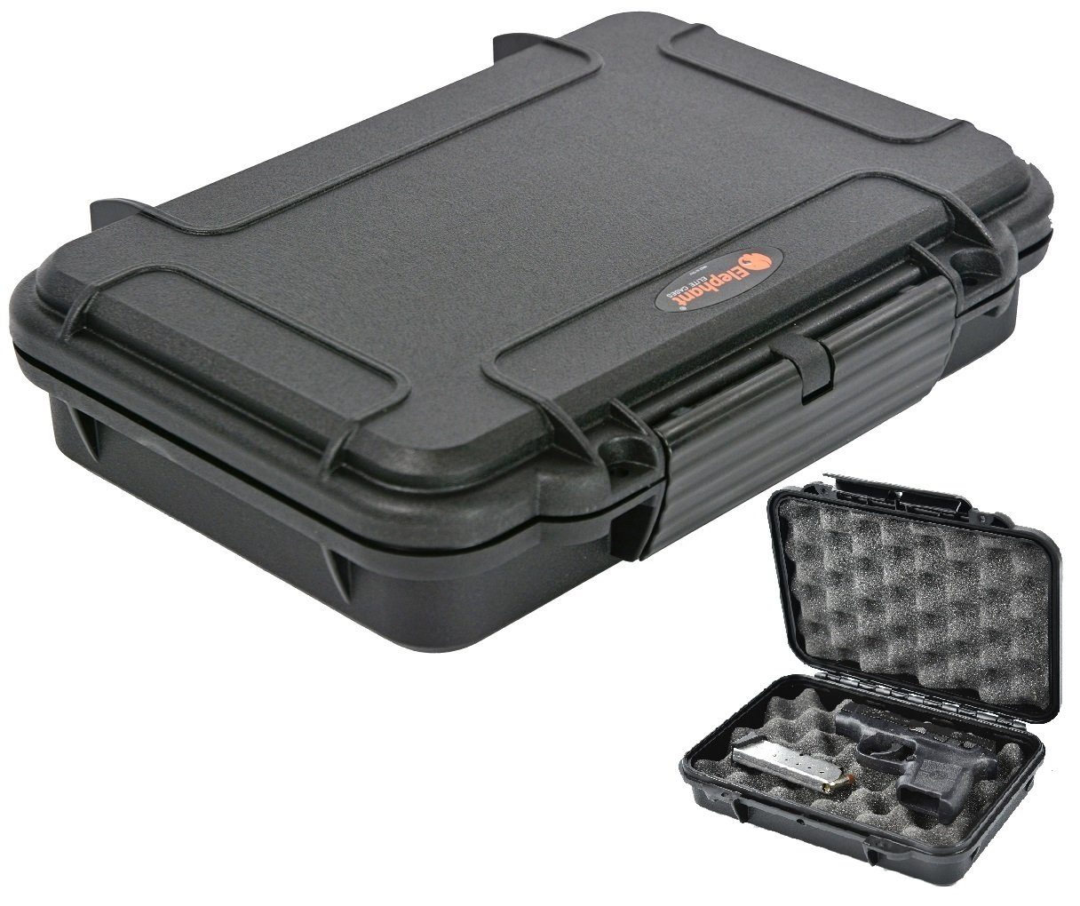 Pistol Case Handgun case Elephant Elite EL008 with Convoluted Foam Waterproof Concealed Carry for Any Gun of 8 Length by 5.25 Height Or Smaller. Elephant Cases