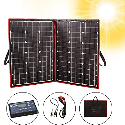 DOKIO 100 Watts 12 Volts Monocrystalline Foldable Solar Panel with Charge Controller with Dual USB Outputs (LIGHTWEIGHT 6lb) for Camping : Garden & Outdoor
