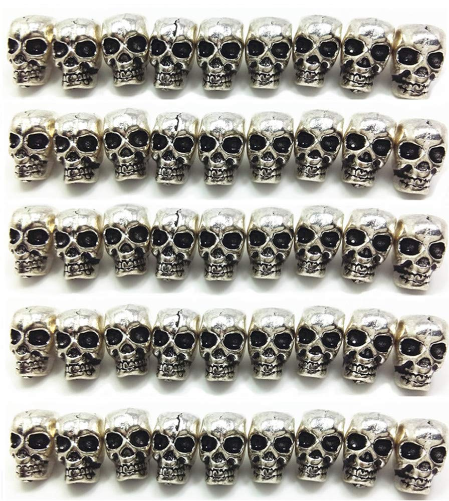 QTMY 50 PCS 4mm Macroporous Skull Spacer Beads for Jewelry Making Supplies in Bulk by QTMY