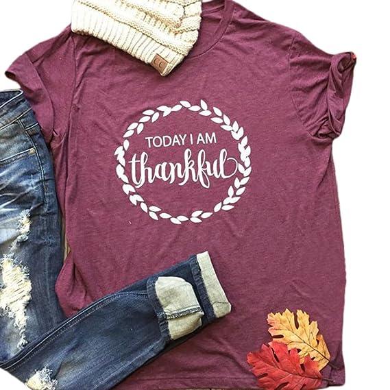 wlgreatsp Mujer Feliz Navidad Acción de Gracias Hoy Estoy Agradecido Carta Impresa Manga Corta Tops Camiseta