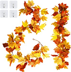 ABETREE 2 Pack Artificial Maple Leaf Garlands 5.9 ft/Piece Autumn Fake Hanging Fall Leave Vines for Indoor Outdoor Wedding Thanksgiving Dinner Party Fireplace Christmas Decor