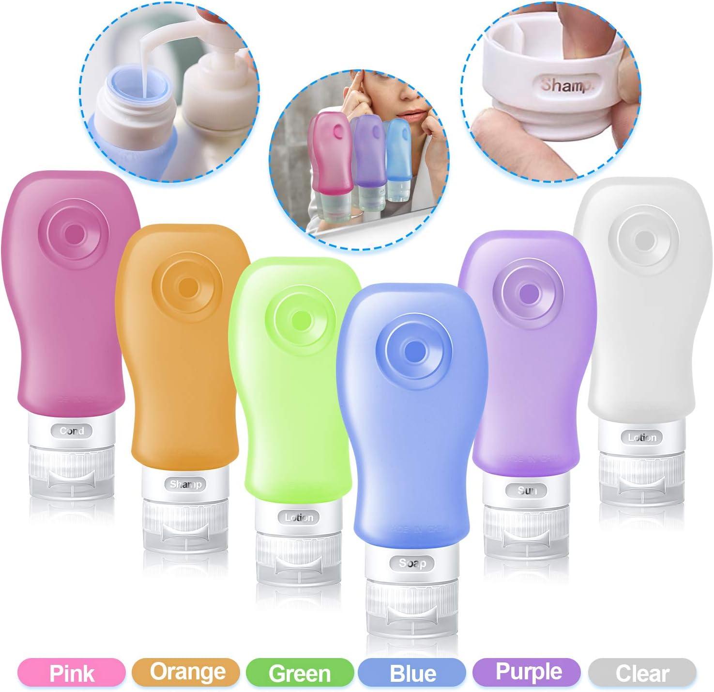 RioRand Travel Bottles/Toiletry Tubes Leak Proof Set Food Grade Silicone 3 oz (89ML) 6 Pack a Set