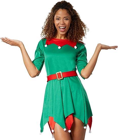 dressforfun 900847 Disfraz de Navidad Elfo Mujer, Vestido Corto ...