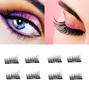 4a7c14532cb Meiyoo2 3D Magnetic Eyelashes Extension - No Glue Natural Looking Reusable  Siberian Mink Fake Eye Lashes