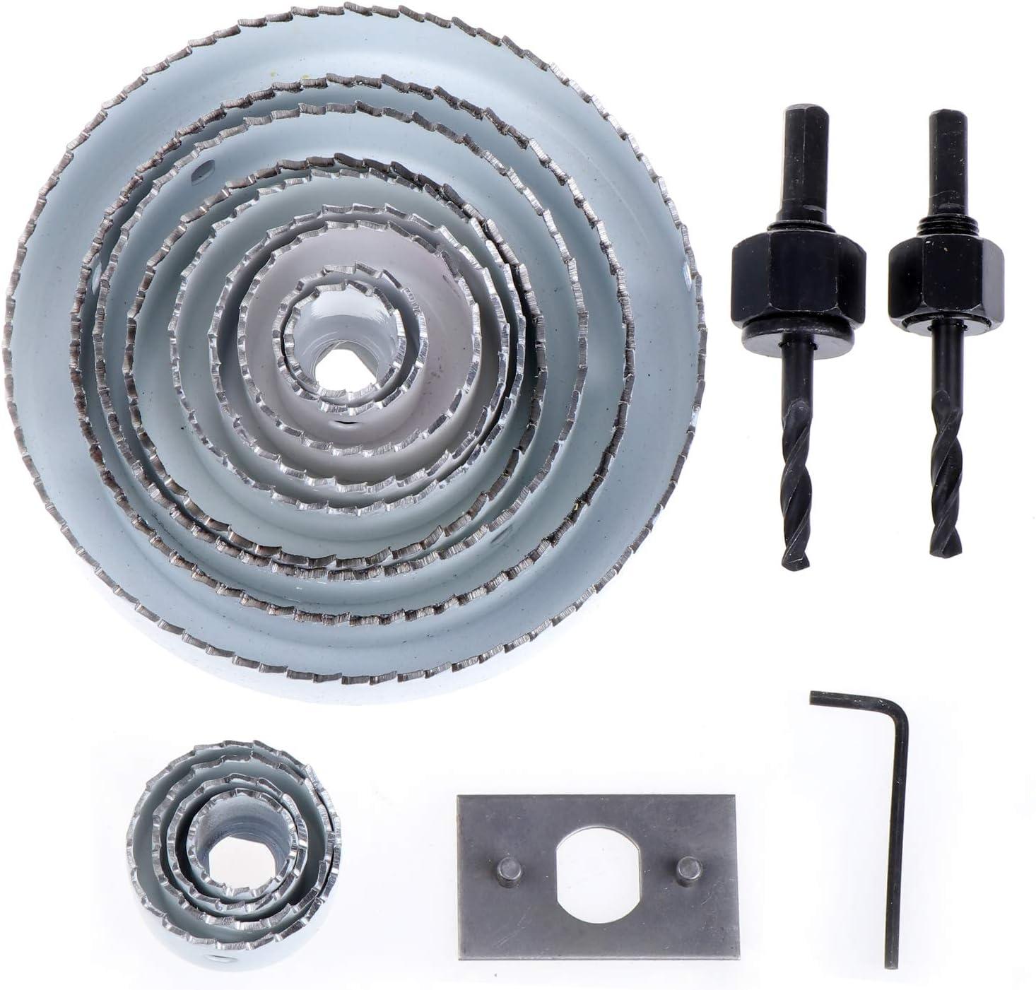 19-127mm f/ür Weichholz Gipskarton Kunststoff WiMas 17PCS Lochs/ägen-Set Kohlenstoffstahl Lochbohrer Set mit 13 S/ägeblatt Lochs/ägenschneider