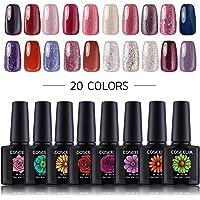 Coscelia 20pcs Soak Off Glitter Gel Nail Polish Sets UV Gel Polish Color Set Nail Art Salon Kit