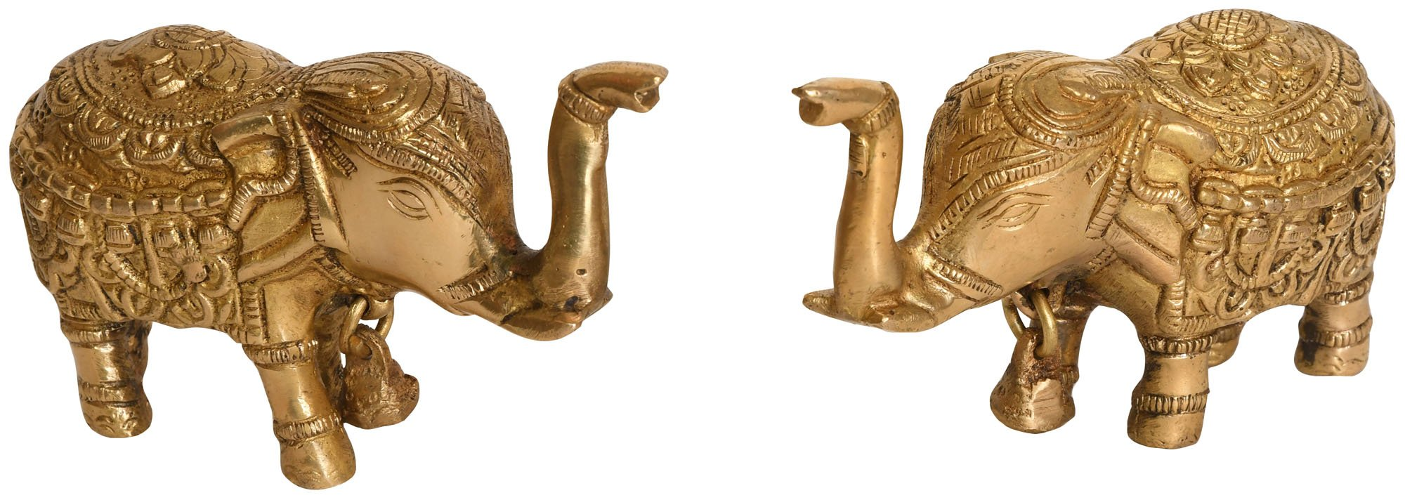 Pair of Upraised Trunk Elephants with Bell (For Vastu) - Brass Statue