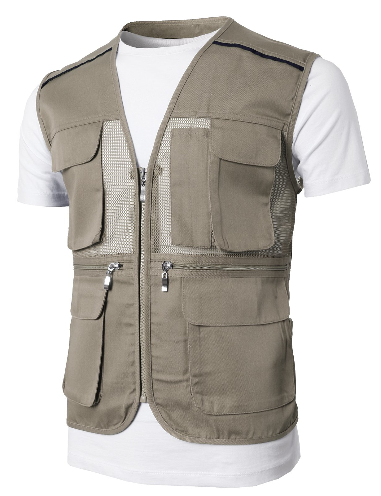 H2H Men's Outdoor Multifunction Multi-Pocket Mesh Fishing Vest of Line Point Beige US 2XL/Asia 3XL (KMOV0146)