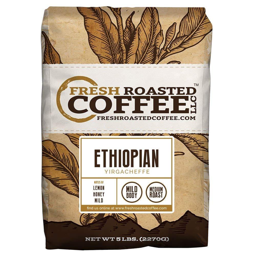 Ethiopian Yirgacheffe Coffee, Whole Bean Bag, Fresh Roasted Coffee LLC. (5 LB.) by FRESH ROASTED COFFEE LLC FRESHROASTEDCOFFEE.COM