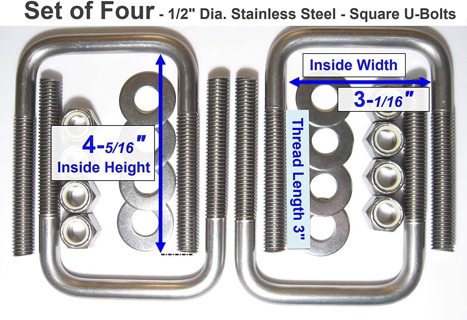 "(4) STAINLESS STEEL Square U-Bolts Boat Trailer 1/2"" D x 3 1/16"" W x 4 5/16"" L"