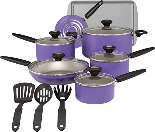 SilverStone 22037 Aluminum Nonstick Cookware Set, Large, Purple