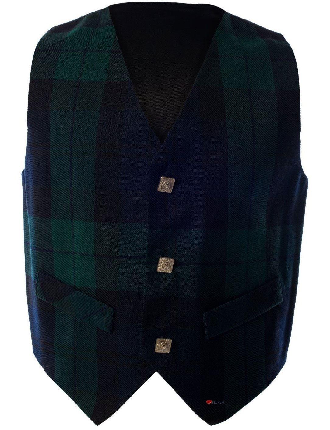 Boys Waistcoat, Silk Back Adjustable buckle Black Watch Tartan 2 year