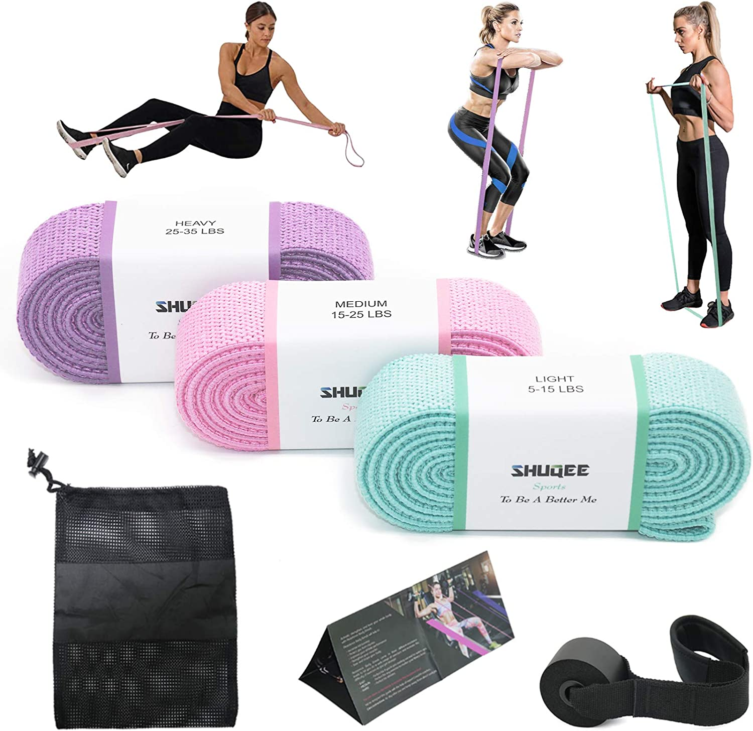 SHUQEE Max 42% OFF Long Fabric Resistance Loop Bands Set of - Special Campaign 3 Body Ex Full